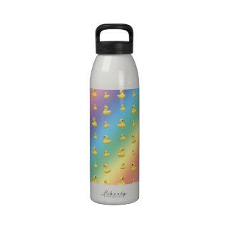 Rainbow rubber duck pattern water bottles