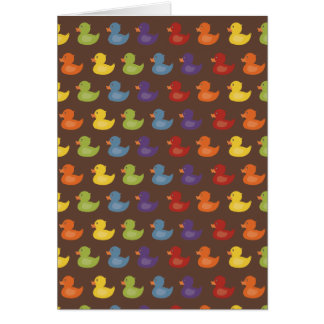 Rainbow   Rubber Ducks   All over Pattern on brown Card