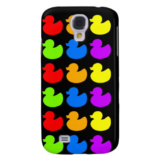 Rainbow Rubber Ducks on Black Samsung Galaxy S4 Case