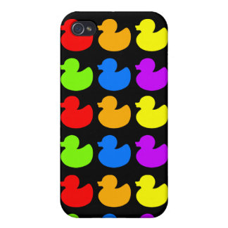 Rainbow Rubber Ducks on Black Cover For iPhone 4