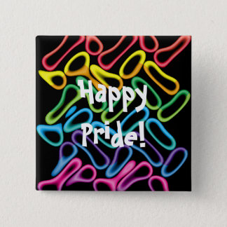 Rainbow Rubber Rings1 LGBT Gay Pride Button