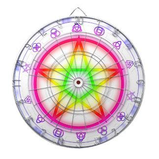 Rainbow Runes Pagan Pentacle Dartboard