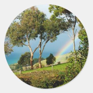 Rainbow Rural Serenity Round Stickers