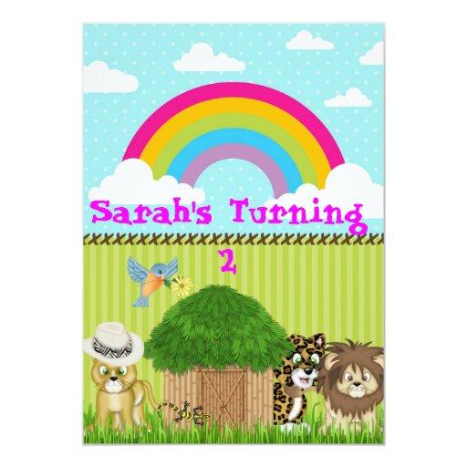 Rainbow Safari Birthday Invitations for Kids