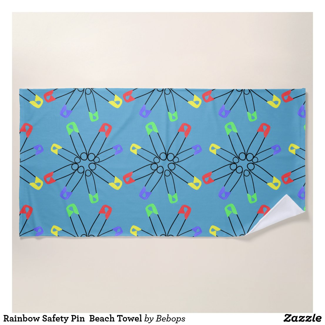 Rainbow Safety Pin  Beach Towel