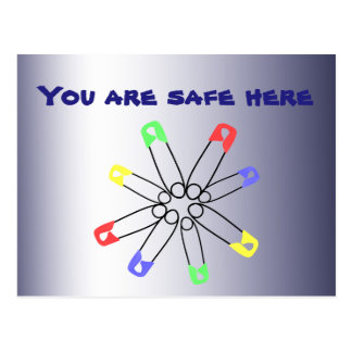Rainbow Safety Pin Solidarity Blue Red Green Postcard