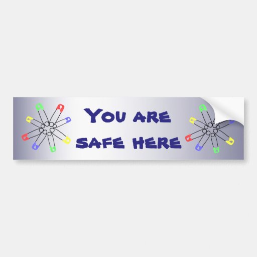 Rainbow Safety Pin Solidarity Blue Yellow Green Bumper Sticker