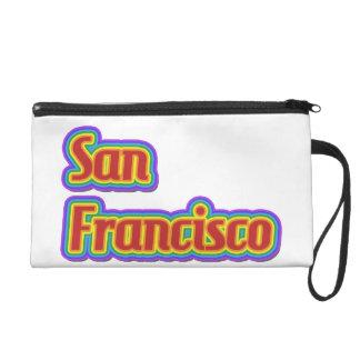 Rainbow San Francisco - on White Wristlet