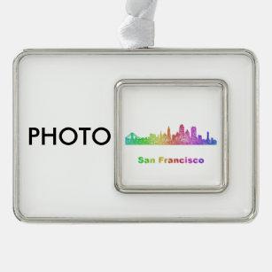Rainbow San Francisco skyline Christmas Ornament