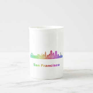 Rainbow San Francisco skyline Tea Cup