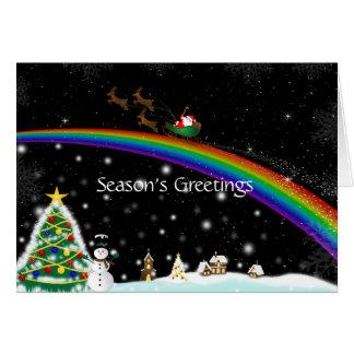 Rainbow Santa Christmas Card