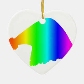Rainbow Santa Hat Ceramic Ornament