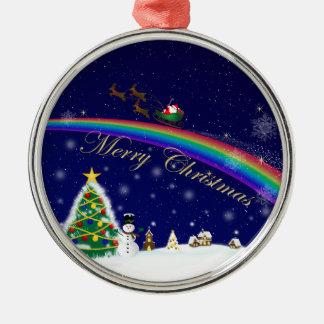 Rainbow Santa Metal Ornament