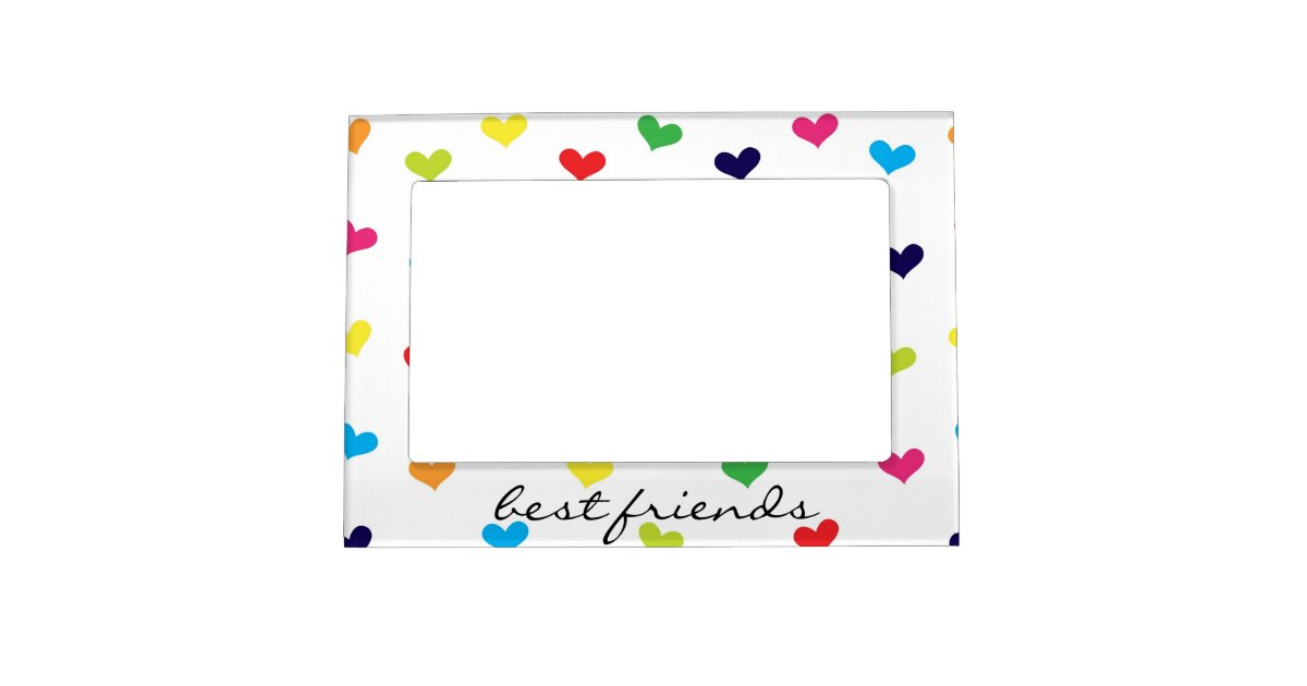 rainbow scattered heart best friends frame zazzle