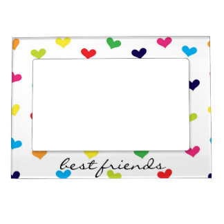 Rainbow Scattered Heart Best Friends Frame Magnetic Photo Frame