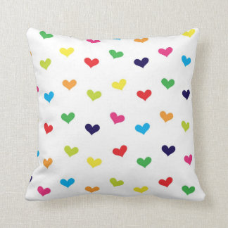 Rainbow Scattered Heart Throw Pillow