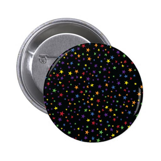 Rainbow Scattered Stars Pinback Buttons