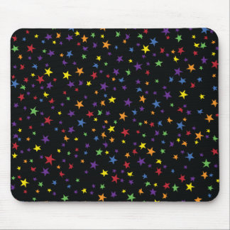 Rainbow Scattered Stars Mouse Pad