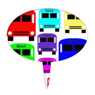 rainbow school buses cake topper