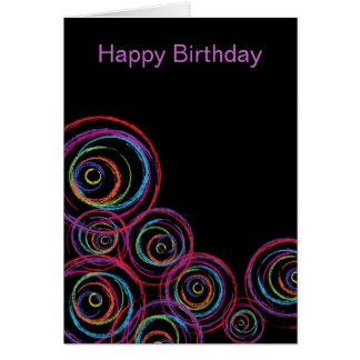 Rainbow Scribble Circles Card