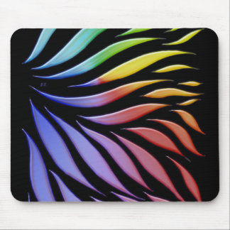 Rainbow Scribble Funky Black Mouse Pad