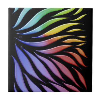 Rainbow Scribble Funky Black Tile