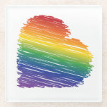 Rainbow scribble heart square glass coaster