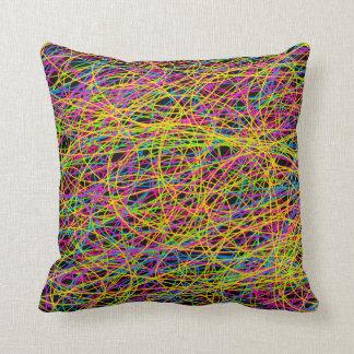 Rainbow Scribbles Throw Pillow
