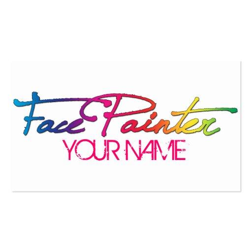 Face painting business card templates bizcardstudio rainbow script business cards colourmoves