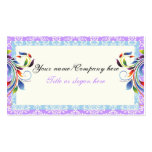 Rainbow scroll leaf blue purple damask borders Double-Sided standard business cards (Pack of 100)