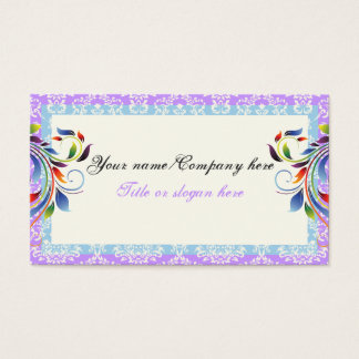Rainbow scroll leaf blue purple damask borders business card