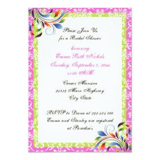 Rainbow scroll leaf damask wedding bridal shower card