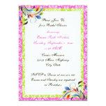 Rainbow scroll leaf damask wedding bridal shower 5x7 paper invitation card