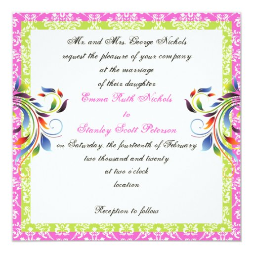 Rainbow scroll leaf damask wedding 5.25x5.25 square paper invitation card