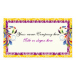 Rainbow scroll leaf yellow purpledamask borders Double-Sided standard business cards (Pack of 100)