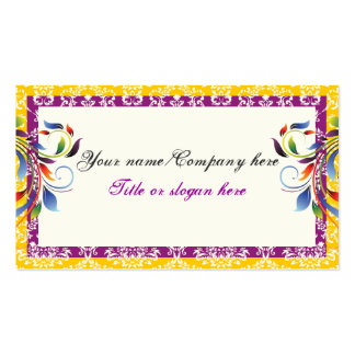 Rainbow scroll leaf yellow purpledamask borders business card templates