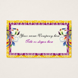 Rainbow scroll leaf yellow purpledamask borders business card