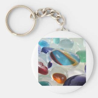 Rainbow Sea Glass Basic Round Button Keychain