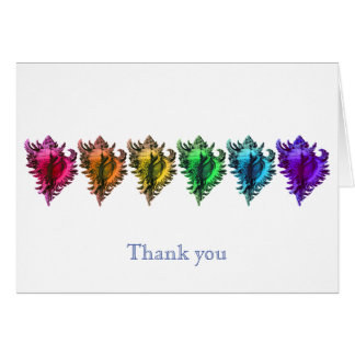 Rainbow Sea Shells Thank You Note Cards