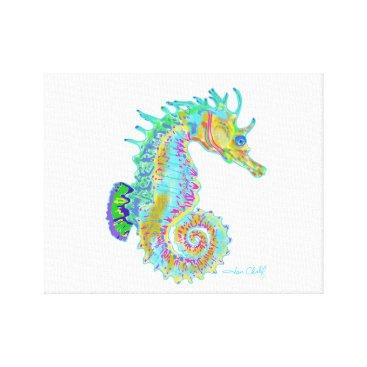 Beach Themed Rainbow Seahorse Canvas Print