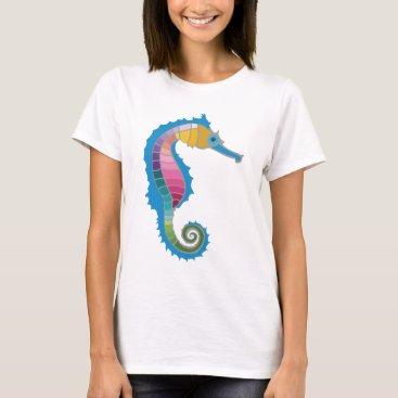 Beach Themed Rainbow Seahorse T-Shirt