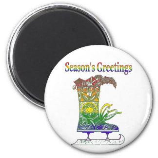 Rainbow Season's Greetings 2 Inch Round Magnet