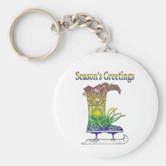 Rainbow Season's Greetings Keychain