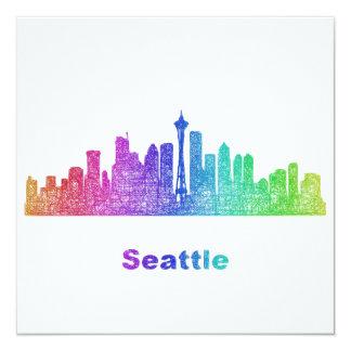 Rainbow Seattle skyline Card