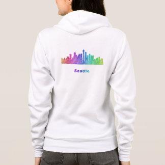 Rainbow Seattle skyline Hoodie