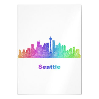 Rainbow Seattle skyline Magnetic Card