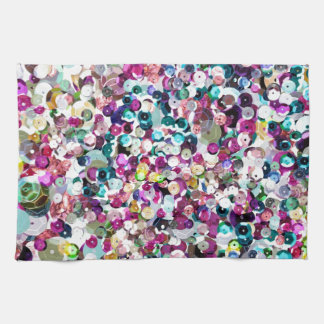 Rainbow Sequins Sparkles Glitter Print Kitchen Towel