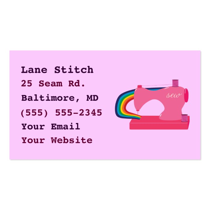 Rainbow Sewing Machine Business Cards