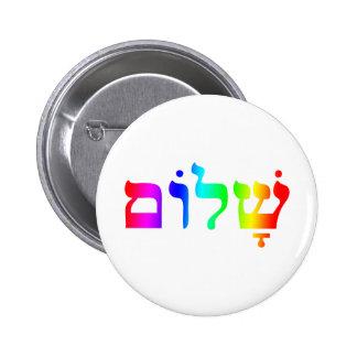Rainbow Shalom Pinback Button