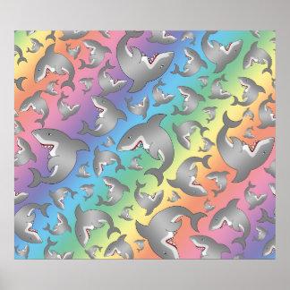 Rainbow shark pattern print